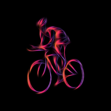 Cyclist in a bike race. Color illustration