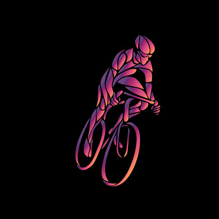 Cyclist in a bike race. Color clipart Illustration