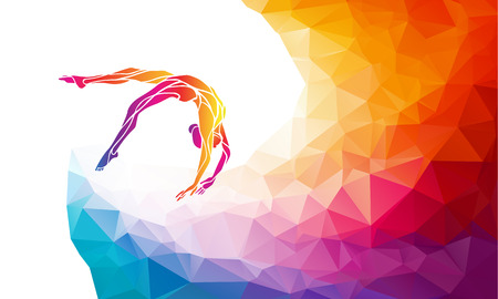 competitive: Creative silhouette of gymnastic girl. Art gymnastics