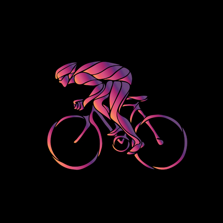 overtone: Cyclist in a bike race. Neon vector clipart