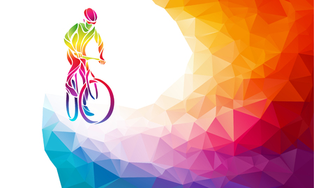 Professional cyclist involved in a bike race. Polygonal low poly Zdjęcie Seryjne - 70049890