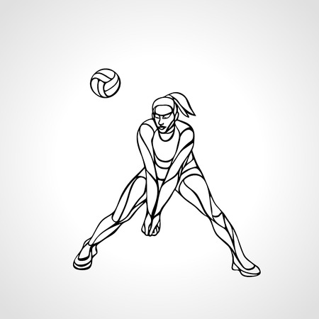 Woman volleyball player silhouette passing ball Illustration