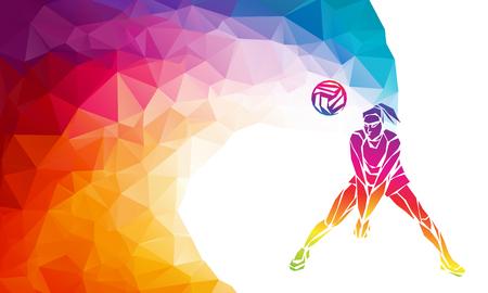 Volleybalspeler. Team sport vector veelhoekig banner