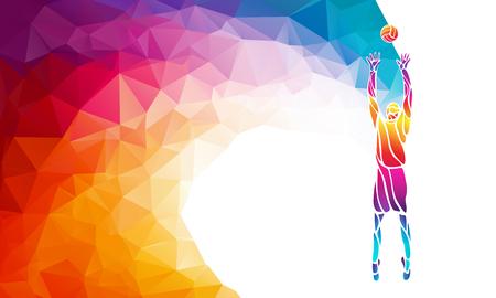 Kleur silhouet van volleyball speler op setter positie