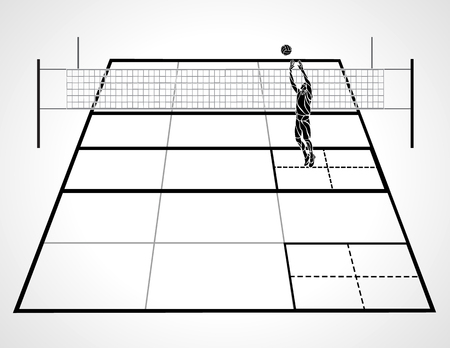 Volleyball court with perspective, setter player and ball