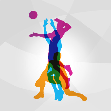 Vector logo voleibol. Jugadores de voleibol de Colorfull golpean una pelota Foto de archivo - 70775704