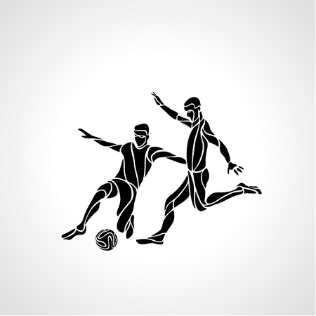 sportsmen: Soccer or football players kicks the ball, sportsman silhouette Illustration