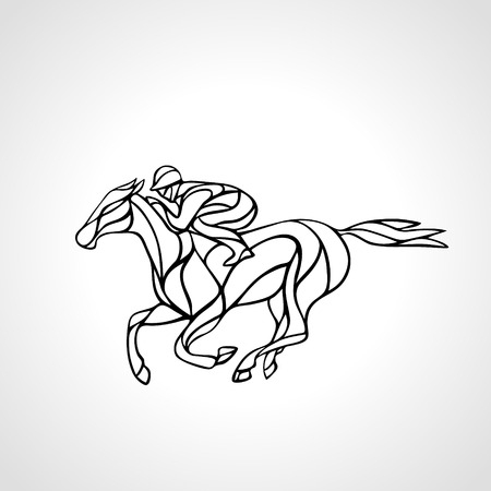 trot: Horse race. Equestrian sport. Silhouette of racing with jockey