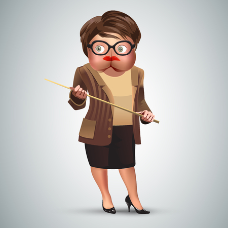Old female teacher holding a pointer with head looking like