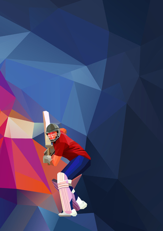 Abstract cricket player polygonal low poly illustration Vectores