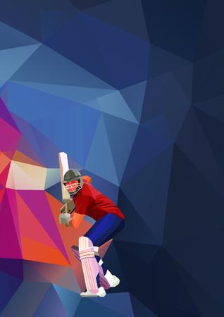 Resumen jugador de cricket poligonal baja ilustración de poli Foto de archivo - 71267720