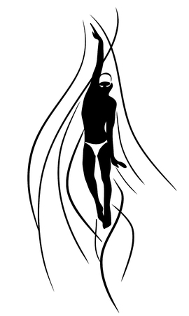 crawl: Back Crawl Backstroke Swimmer Silhouette. Sport swimming