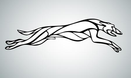 走っている犬ウィペット犬種のシルエットのラインアート。ベクトル