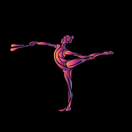 flexible: Creative silhouette of gymnastic girl. Art gymnastics flexible girl