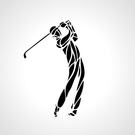 Silhouette of golf player. Vector eps8