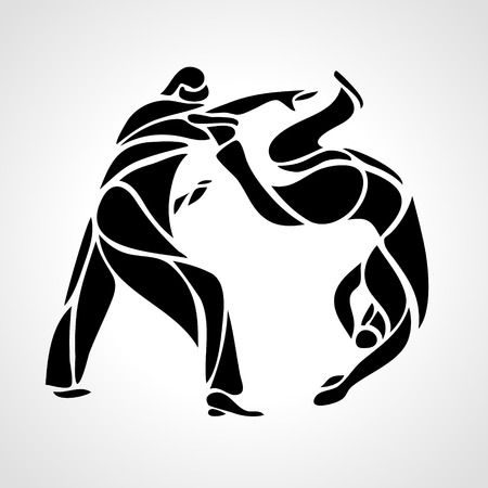 grappling: Judo fighters round pictogram or logo. Martial arts icon