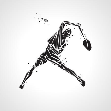 スマッシュ ショットを行うプロのバドミントン選手の創造的なシルエット。  イラスト・ベクター素材