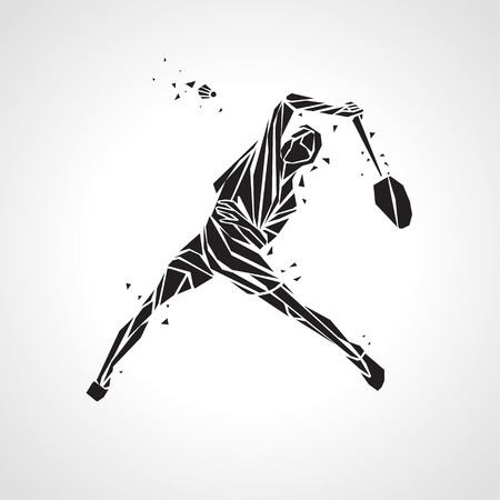 Creative silhouette of professional Badminton player doing smash shot. Stock Illustratie