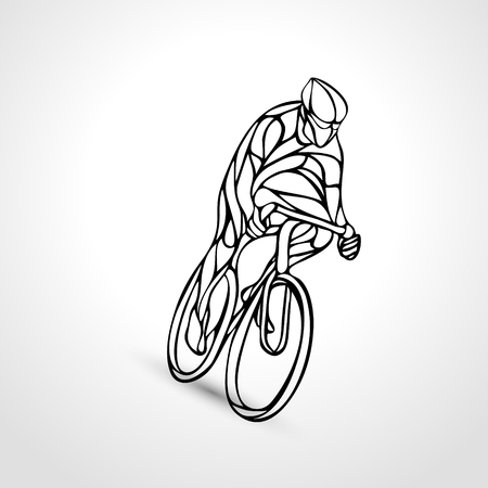 lineart: Abstract silhouette of cyclist