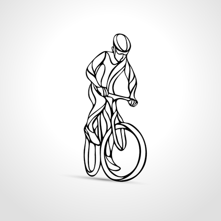 lineart: Abstract creative lineart silhouette of bicyclist. Outline cyclist wave style logo. Front view. Vector illustration of bike Illustration