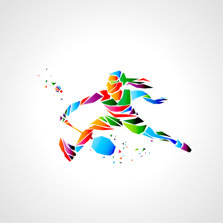 Girl badminton player abstract vector.