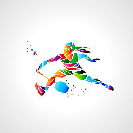 Girl badminton player abstract vector.