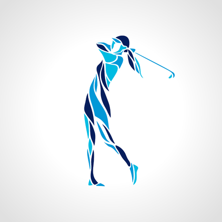 Silhouette of woman golf player in blue colors. Vector eps10. Stock Illustratie