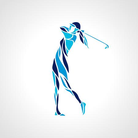 Silueta del jugador de golf de mujer en colores azules. Vector eps10. Foto de archivo - 88754745