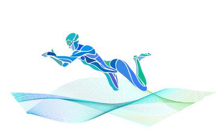 Silueta de color de vector de nadador Breaststroke