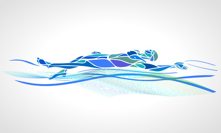 Swimmer Backstroke vector color silhouette Çizim
