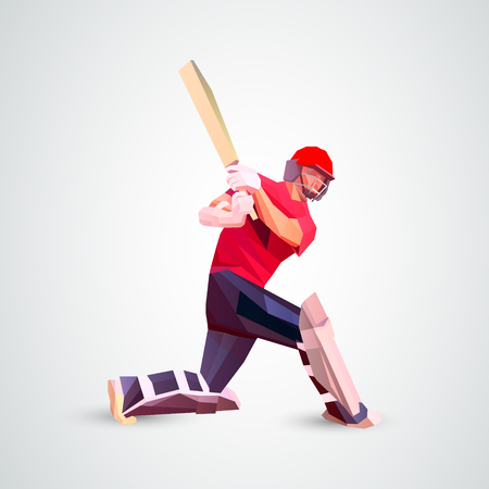 Abstract cricket player polygonal low poly illustration Ilustração