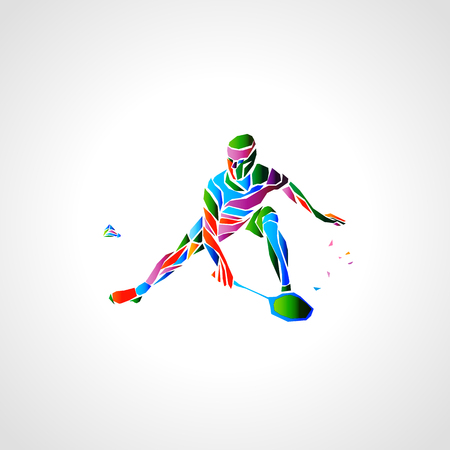 Badminton player abstract vector eps illustration