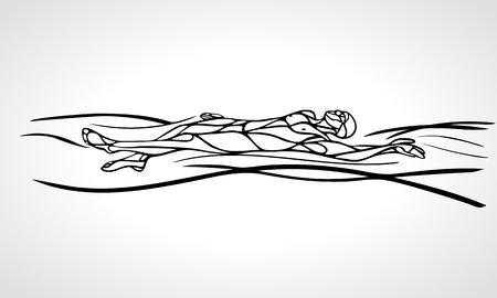 Swimmer backstroke black outline silhouette vector illustration