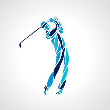Golf Sport Silhouette of Golfer finished hitting Tee-shot Çizim