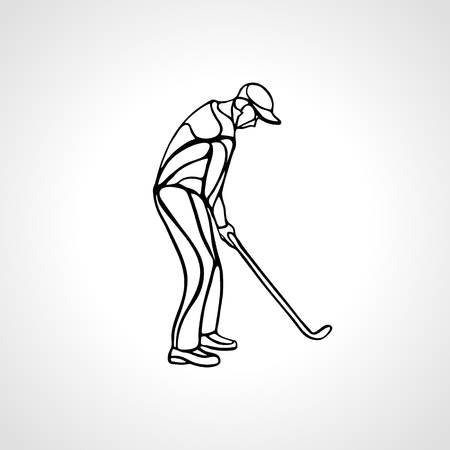 Golf sport silhouette of golfer finished hitting tee-shot