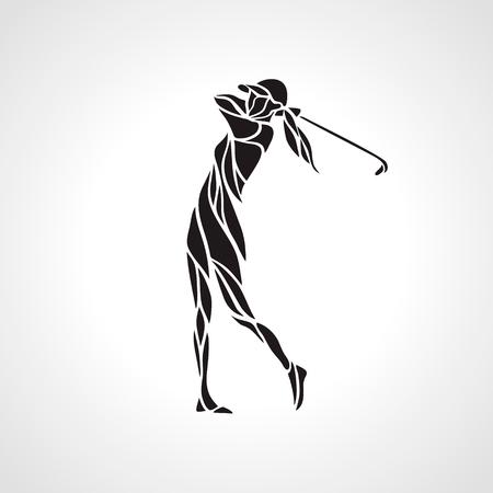 Silhouette of woman golf player. Golfer logo. Vector eps8