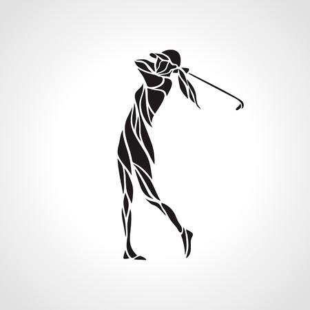 Schattenbild des Frauengolfspielers. Golfer-Logo. Vektor eps8 Logo