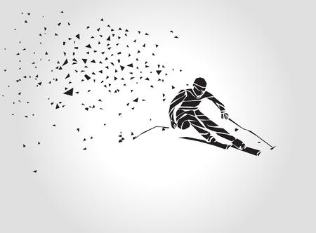 スキー下り坂。スキーヤーのクリエイティブなシルエット。ジャイアントスラロームスキーレーサー。幾何学的ベクトルポリゴン三角形図