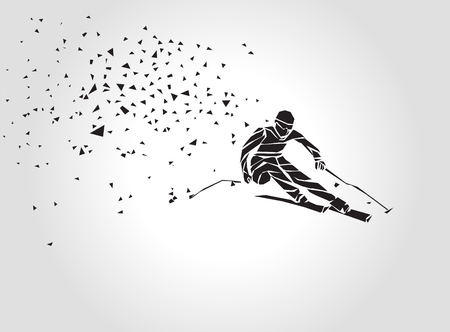 스키 내리막 길. 스키어의 창조적 인 실루엣입니다. 자이언트 슬라롬 스키 경주. 기하학적 인 벡터 다각형 삼각형 그림 일러스트