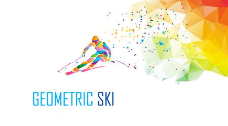 Giant slalom ski racer silhouette. Color illustration Illustration
