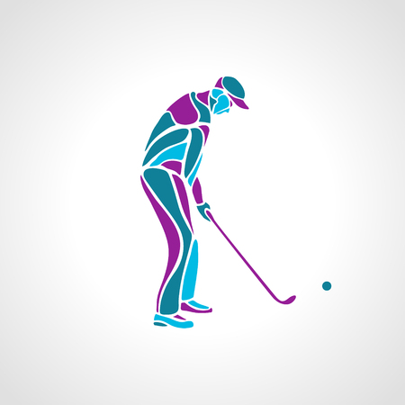 Silhouette of golf player in blue colours. Vector eps8