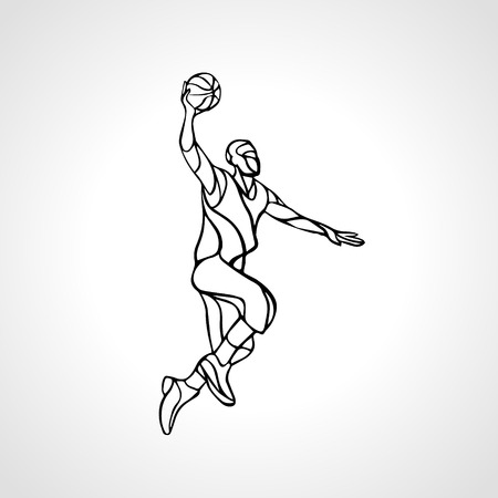 Basketball player. Slam Dunk Outline Silhouette