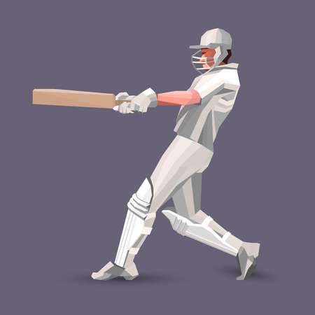 Abstract cricket player polygonal low poly illustration.