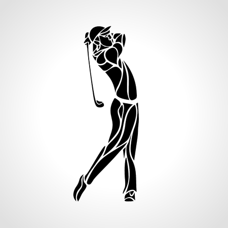 Golf Sport Silhouette of Golfer finished hitting Tee-shot Vectores