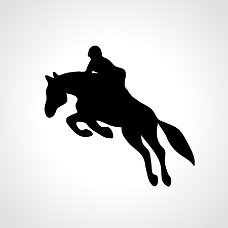 Horse race. Equestrian sport. Silhouette of racing horse with jockey on isolated background. Horse and rider. Racing horse and jockey silhouette. Derby. Eps 8 Illustration