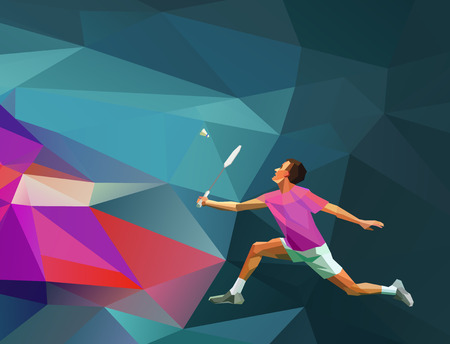Polygonal geometric realistic professional badminton player on colorful low poly background. Vector illustration