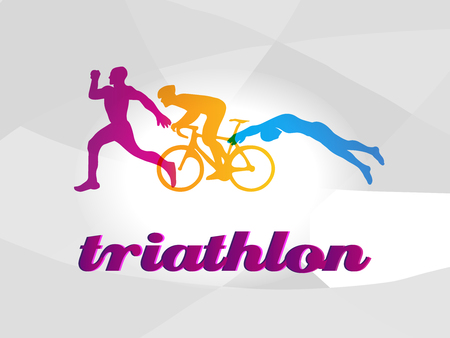 Vector colored figures of triathletes.
