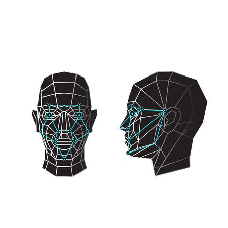 Face recognition - biometric security system. Face scanning, front view, side view of human head. Vector illustration Illustration