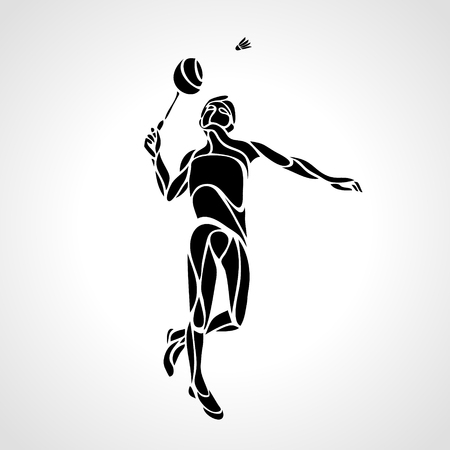 Creative silhouette of abstract badminton player Çizim