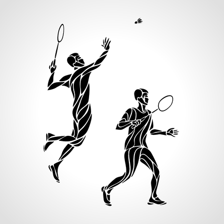 Abstract mens doubles badminton players ector eps10
